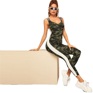 Letter Tape Striped Side Camo Jumpsuit