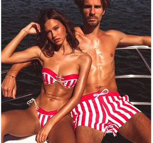 Sexy Striped Couple Swimwear Women Bikini