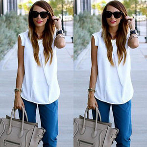 White Fashion Sleeveless Simple Tops Chiffon Blouse shirt