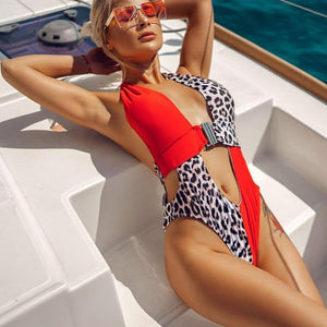 Sexy Leopard One Piece Swimwear High Neck Swimsuit