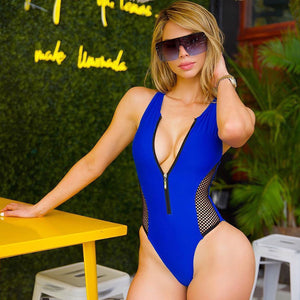 Sexy Mesh Patchwork One Piece Swimsuit