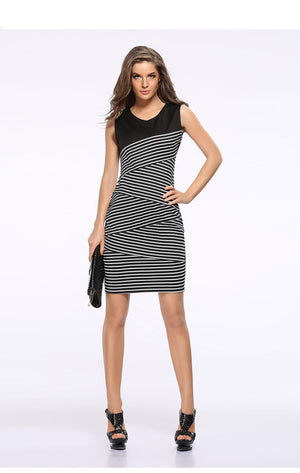Black White Strip Dress Tunic Women Formal Work Office