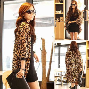 Leopard Batwing Sleeve Loose Chiffon Top Blouse Cardigan