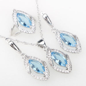 Sky Blue CZ Silver 925 Costume Jewelry Sets Eyes Pendant Necklace Ringsc