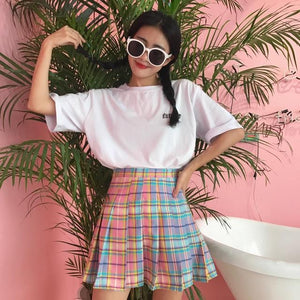 Rainbow Plaid Skirt Women Kawaii Harajuku Mini Pleated Skirt Korean Uniform Midi Skirt Cute High Waist Sexy Female Bottoms