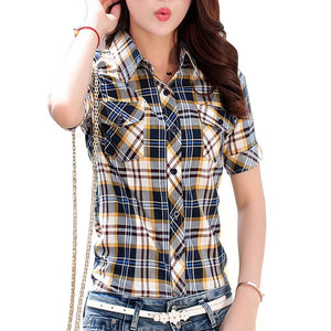Tops Casual Short Sleeve Plaid Shirts Women