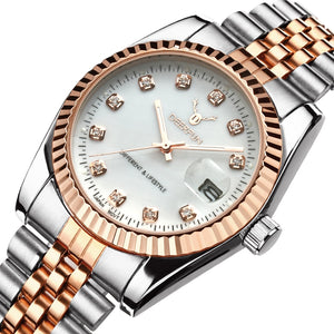 Famous Brand Fashion Luxury  Steel Metal band ROSE GOLD  Bracelet watch