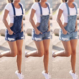Women Summer Denim Bib Overalls Jeans Shorts Jumpsuits and Rompers Playsuit