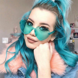 New Fashion cute sexy retro Love Heart  Rimless Sunglasses Womena