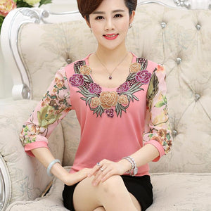 Women Spring Summer Tee Chiffon Sleeve Shirts