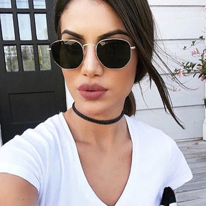 Hexagon Black Sunglasses Women