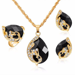 Dark Zircon Bridal Gold colorJewelry Sets Women Pendant&Necklace Ring