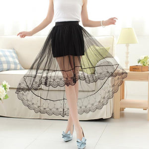 Sexy Women Netting Yarn Dovetail Skirt Elegant Lace Long Tulle Skirts