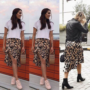 High Waisted Asymmetric Stretch Leopard Skirt for Women Girl Party Mid-Calf Bodycon Skirt