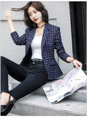 Plaid Jacket with Pocket Office Lady