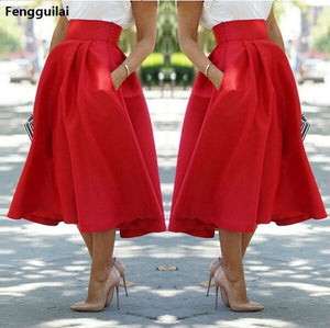 New Skirts Womens ,Faldas Largas ,Red High Waist And Calf Skirts