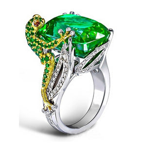 Vintage Green Cubic Zirconia Frog Hold Crystal Rings