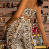 Simenual Sexy snake print two piece set strapless