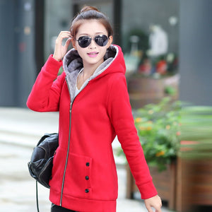 Thicken Sports Cotton Coat ladies Solid Hooded Warm Jacket