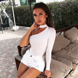 cotton halter one-shoulder sexy bodysuit women