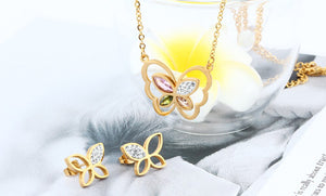 Steel Jewelry Set Butterfly Pendant Necklace And Earrings Jewelery