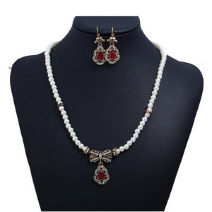 Turkish Jewelry Vintage Gold Necklace And Earring Sets Wedding