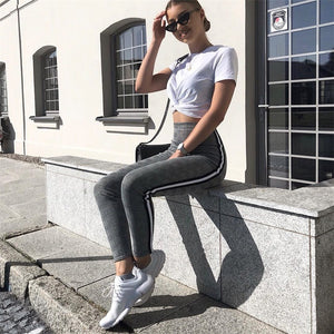 Women Houndstooth Leggings High Waist Side Stripe Plaid Pants Leggings Skinny Trousers Houndstooth Pencil Pants