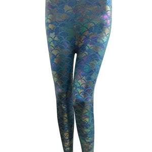 Women Holographic Mermaid Fish Scale Metallic Geometric Stretch Legging Pant