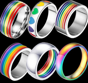 MLMATE Mens Womens Rainbow Colorful LGBT Ring