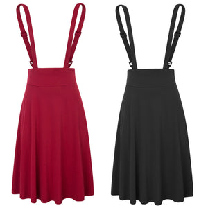 Black/Dark Red  Women's Vintage Solid Color Flared A-Line Suspender Skirt Pinafore Skirt