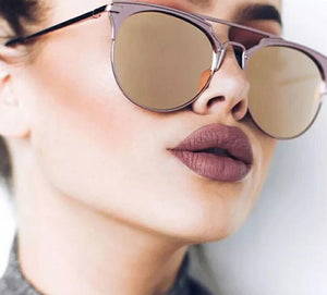 Sunglasses Women  Oval Alloy Glass Mirror