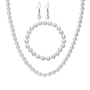 Imitation Pearl Jewelry Sets Women Necklace Bracelet Earrings Engagement Jewelery