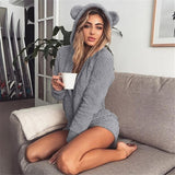 Women Sexy Cute Playsuit Velvet Long Sleeve Bodysuit