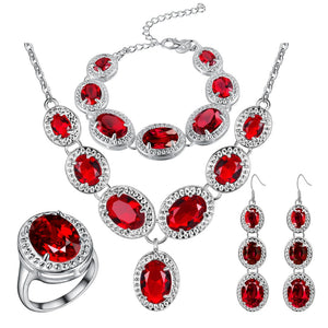Mystic Red Zircon 925 Silver Costume Jewelry