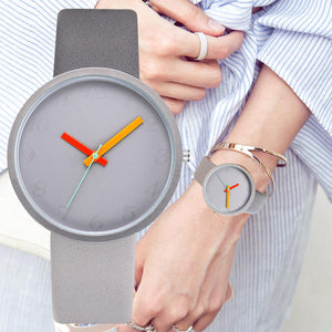 Women Watch Gray Contrast Leather Quartz Watch Women