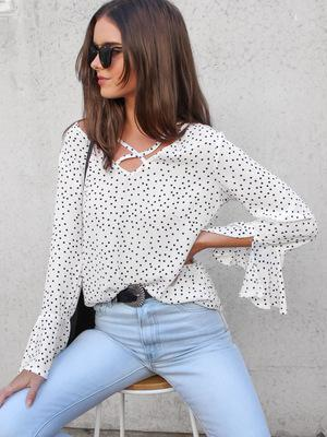 Tops and Blouses V-neck Flare Sleeve
