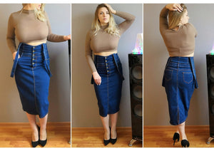 Long Denim Skirt With Straps Women Button Jeans Skirts Plus Size Long High Waist Pencil Skirt Denim Skirts Womens