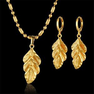 Romantic Leaf Necklace Earrings Wedding
