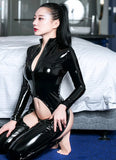 Sexy PU Leather Wetlook Open Crotch Bodysuit
