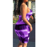 Women O Neck Spaghetti Strap Tie Dye Party Dress Female Sexy Night Club Backless