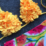 yellow flower bikini set red shirred bikinis