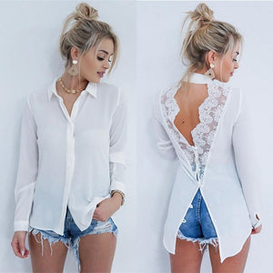 Blouses Turn-down Collar Long Sleeve Chiffon Blouse