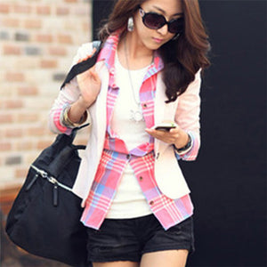 Short Solid Turn-down Collar Slim Blazers Women Fashion