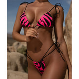 Sexy snake bikini thong  Push up 3 piece swimsuit female string bathing suit