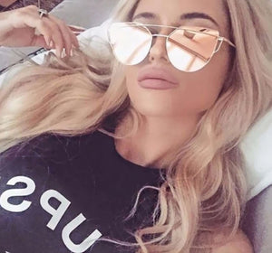 2019 Cat Eye Rose Gold Mirror Sunglasses