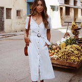Dress Streetwe Short Sleeve V Neck Striped Button Midi