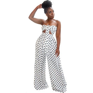 Black White Polka Dot 2 Piece Sweat Suits Women