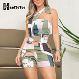 One Shoulder Knotted Detail Abstract Print Romper Playsuits