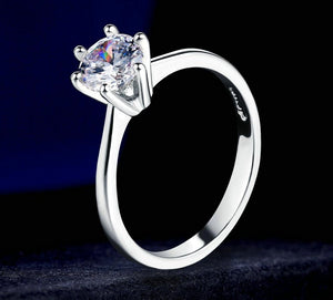 Double Fair 6 Claw Cubic Zirconia Princess Cut Wedding/Engagement Ring