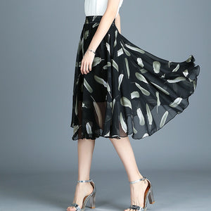 Fashion Print Chiffon A-Line Skirt Women Work Wear High Waist Skirts Female Basic All Match Party Skirts
